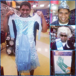 Husband Modeling his Daughter's Elsa Costume